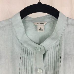 L.L. Bean linen top pintuck long sleeves washable